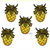 Материалы для творчества handmade. Livemaster - original item pineapple applique embroidery badge patch decal for clothing. Handmade.