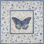 Дизайн ручной работы. Ярмарка Мастеров - ручная работа Керамическая плитка с бабочками и цветами. Handmade.