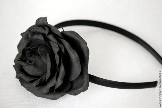Диадемы, обручи ручной работы. Ярмарка Мастеров - ручная работа. Купить Обруч с черной розой. Handmade. Черный, классический стиль