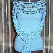 """Одежда ручной работы. Ярмарка Мастеров - ручная работа Свитер """"Голубой ажур"""". Handmade."""