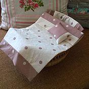 Куклы и пупсы ручной работы. Ярмарка Мастеров - ручная работа Постельный набор для кукольной кровати( в горошек). Handmade.