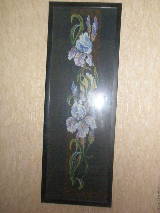Картины цветов ручной работы. Ярмарка Мастеров - ручная работа. Купить вышивка ирисы. Handmade. Черный, мулине хлопок