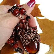 Фен-шуй и эзотерика handmade. Livemaster - original item Amulet and beads with natural carnelian and bull`s eye. Handmade.