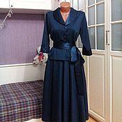Одежда ручной работы. Ярмарка Мастеров - ручная работа Трикотажное платье-костюм миди Сапфир. Handmade.