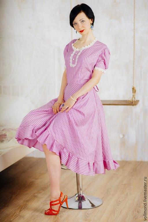 Платья ручной работы. Ярмарка Мастеров - ручная работа. Купить Ретро-платье Нежность. Handmade. Винтаж, ретро стиль, в полоску