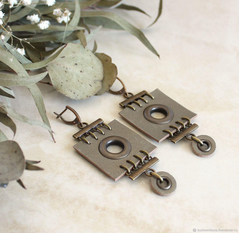 Earrings classic: Olive-bronze leather earrings, Earrings, Nizhnij Tagil,  Фото №1