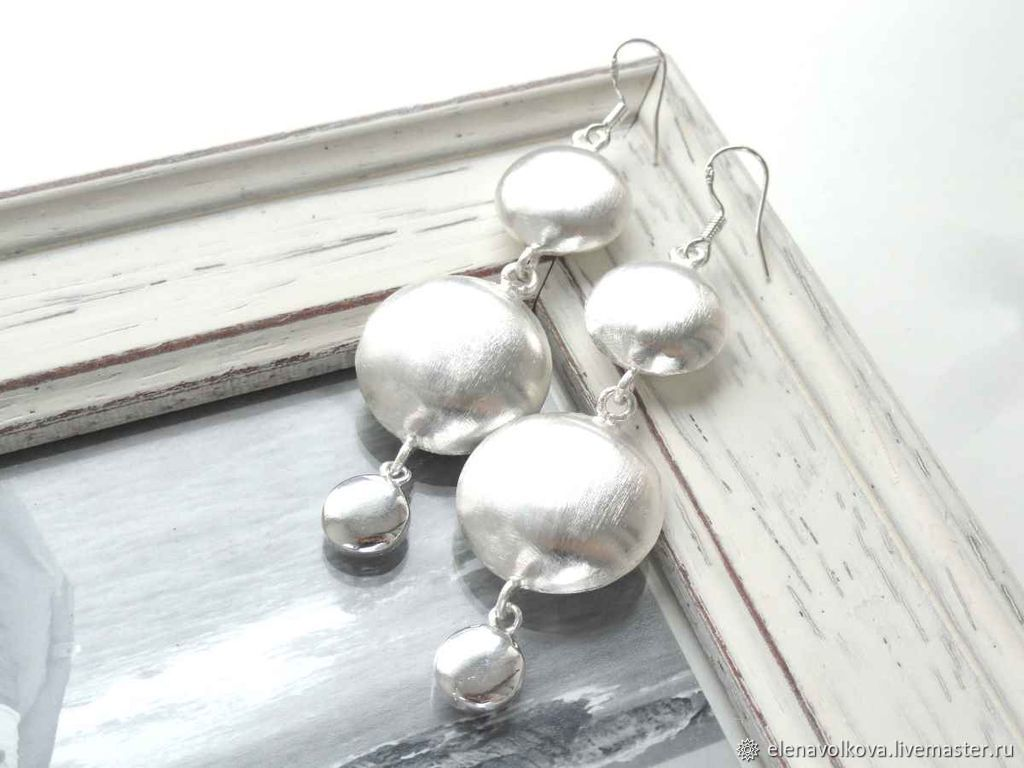 Earrings long large light visible, silver, girl, gift, Earrings, Yaroslavl,  Фото №1
