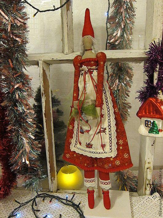 Куклы Тильды ручной работы. Ярмарка Мастеров - ручная работа. Купить Новогодняя Тильда Дэгни. Handmade. Ярко-красный