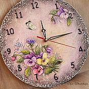 Для дома и интерьера ручной работы. Ярмарка Мастеров - ручная работа Часы с анютиными глазками. Handmade.