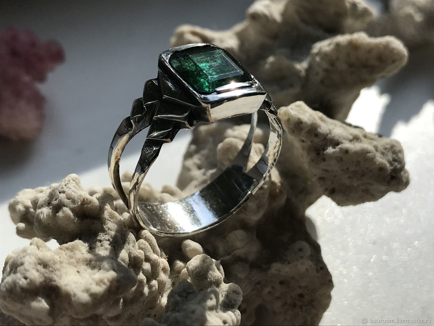 Men's 3,96 ct Emerald ring, Celtic silver ring, Rings, Moscow,  Фото №1