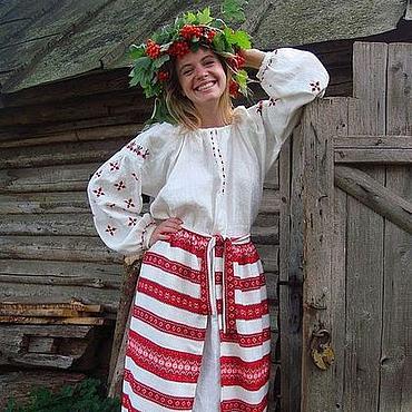 """Одежда ручной работы. Ярмарка Мастеров - ручная работа Платье-рубаха льняное с распашной панёвой """"Августина"""". Handmade."""