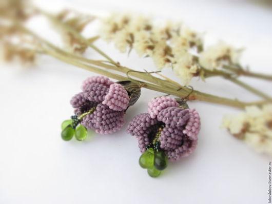 Серьги `Soft fuchsia`, цветы фуксии, серьги из бисера