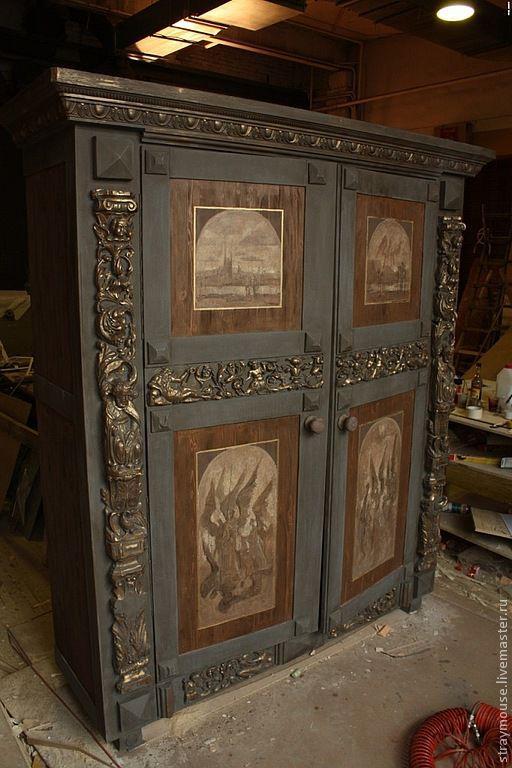 Мебель ручной работы. Ярмарка Мастеров - ручная работа. Купить Шкаф Псевдо готика. Handmade. Коричневый, мебель из дерева