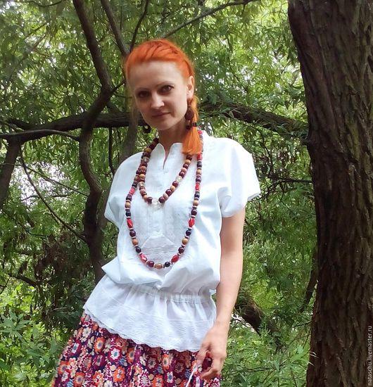 Блузки ручной работы. Ярмарка Мастеров - ручная работа. Купить Легкая блузка на лето в стиле бохо. Handmade. Белый