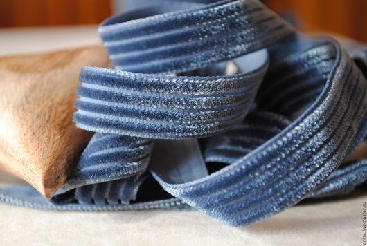 """Шитье ручной работы. Ярмарка Мастеров - ручная работа. Купить Лента плюшевая """"вельветовая"""" Серо-голубая дымка (Франция). Handmade."""