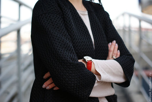 Верхняя одежда ручной работы. Ярмарка Мастеров - ручная работа. Купить Весеннее пальто из жаккардового неопрена. Handmade. Черный