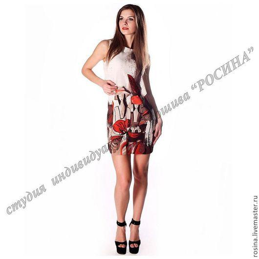 Платья ручной работы. Ярмарка Мастеров - ручная работа. Купить Платье с принтом. Handmade. Абстрактный, трикотажное платье, платье из трикотажа