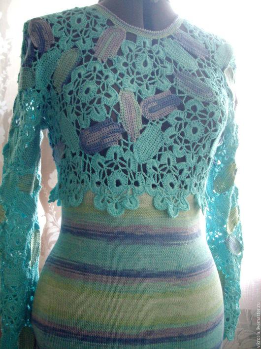 """Платья ручной работы. Ярмарка Мастеров - ручная работа. Купить Платье """" бирюза"""". Handmade. Комбинированный, платье вязаное"""