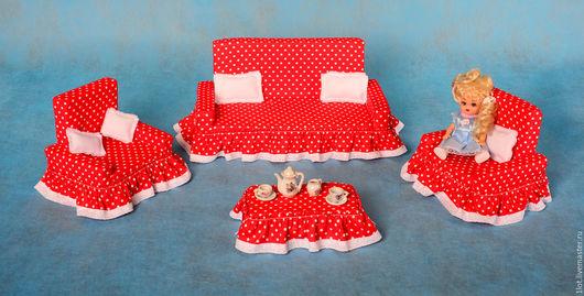 """Кукольный дом ручной работы. Ярмарка Мастеров - ручная работа. Купить Комплект мягкой мебели для кукол """"Анастасия"""" (1) (1). Handmade."""