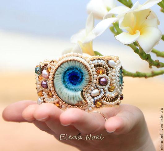 Браслеты ручной работы. Ярмарка Мастеров - ручная работа. Купить Морской браслет с керамическим голубым аммонитом. Handmade. Тёмно-синий