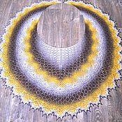 Шали ручной работы. Ярмарка Мастеров - ручная работа Шаль накидка с бисером, Октябрина, шерстяная, градиент цветов. Handmade.