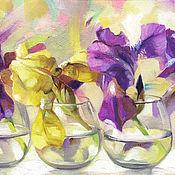 Картины и панно ручной работы. Ярмарка Мастеров - ручная работа Картина Цветы ириса. Handmade.