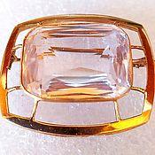 Винтаж handmade. Livemaster - original item A gorgeous gold brooch with a large synth. sapphire, 583 pr.. Handmade.