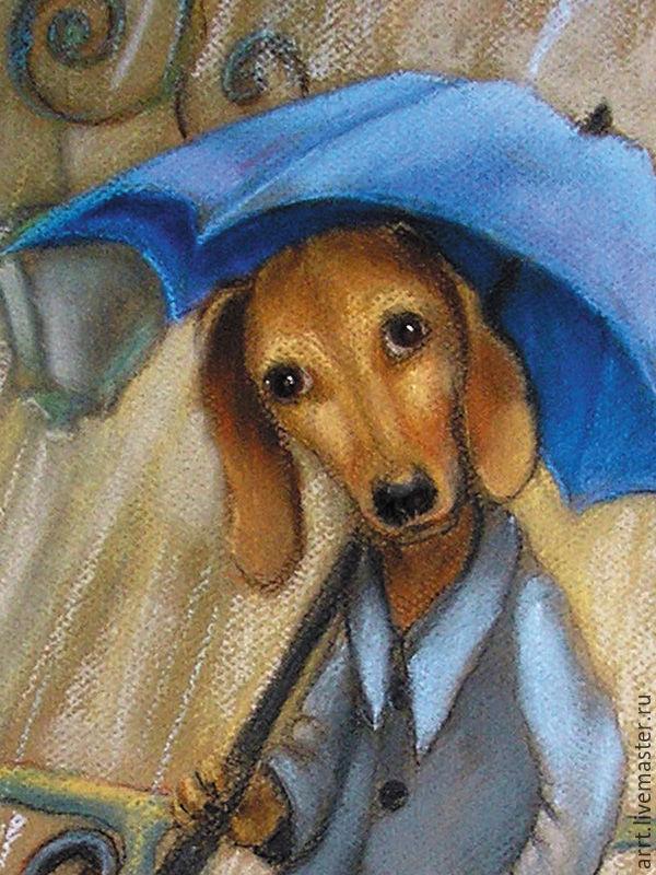 Dog Dachshund and the Rain Postcard, Cards, St. Petersburg,  Фото №1