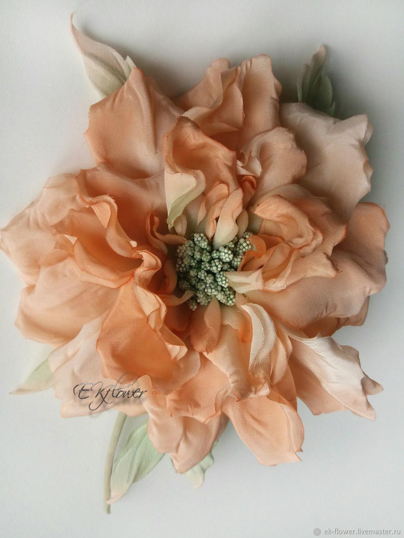 Silk Flowers Rose Silk Brooch Peach Whim Shop Online On