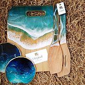 Наборы ручной работы. Ярмарка Мастеров - ручная работа Подарочный набор с доской, лопатками и костерами из смолы. Handmade.