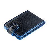 Сумки и аксессуары handmade. Livemaster - original item Business card holder made of black leather with blue ends. Handmade.