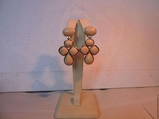 Серьги ручной работы. Ярмарка Мастеров - ручная работа. Купить серьги с амазонитом. Handmade. Бежевый, серьги с камнями, уникальный камень