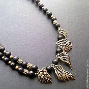 Украшения handmade. Livemaster - original item Necklace Favorite. Black matte jet and antique brass. Handmade.