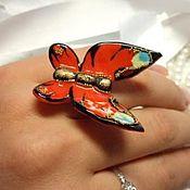 Украшения ручной работы. Ярмарка Мастеров - ручная работа кольцо бабочка. Handmade.