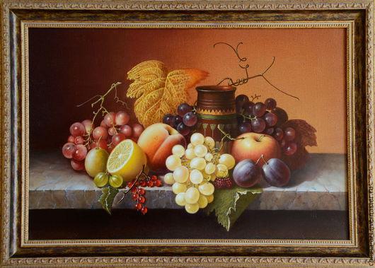 Натюрморт ручной работы. Ярмарка Мастеров - ручная работа. Купить Натюрморт с фруктами. Handmade. Коричневый, живопись на холсте, ваза с фруктами