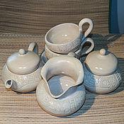 """Посуда ручной работы. Ярмарка Мастеров - ручная работа Чайный сервиз """"Чай с молоком"""". Handmade."""