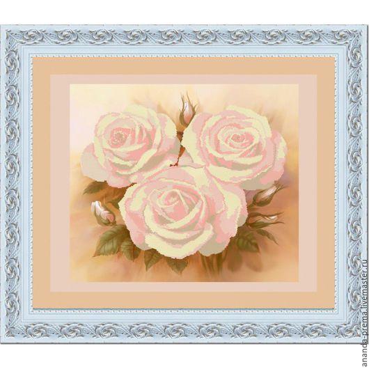 """Вышивка ручной работы. Ярмарка Мастеров - ручная работа. Купить """"Розовые розы"""" Арт 9515 Набор для вышивания бисером.Врем.отсутст. Handmade."""