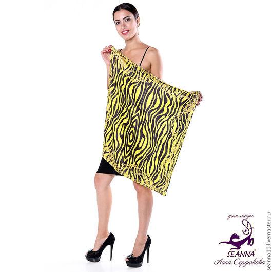 """Шали, палантины ручной работы. Ярмарка Мастеров - ручная работа. Купить Роскошный шелковый платок """"Желтая зебра в золотых цепях"""". Handmade."""