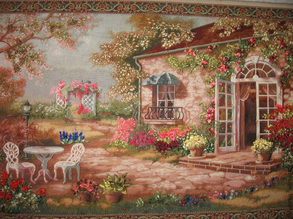 The picture Spanish patio. 115 x 70 Embroidery ribbons, Pictures, Ulyanovsk,  Фото №1