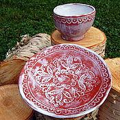 Посуда ручной работы. Ярмарка Мастеров - ручная работа Чайная пара керамическая. Handmade.