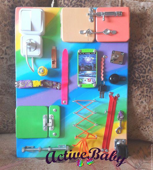 """Развивающие игрушки ручной работы. Ярмарка Мастеров - ручная работа. Купить Бизиборд """"Радуга"""". Handmade. Комбинированный, игрушка"""