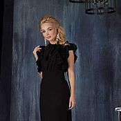 Одежда handmade. Livemaster - original item Formal gown black dress with ruffles. Handmade.