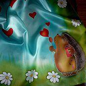 """Аксессуары ручной работы. Ярмарка Мастеров - ручная работа Батик платок """"Ежиная лав стори"""", натуральный шёлк , атлас.62-62 см.. Handmade."""