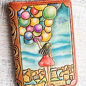 Канцелярские товары handmade. Livemaster - original item Cover for documents-girl with balls. Handmade.