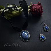 Украшения handmade. Livemaster - original item Leather jewelry set. Pendant and earrings with lapis lazuli.. Handmade.