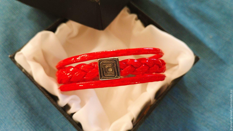 браслет из кожи RED  ручная работа, Браслеты, Тула, Фото №1