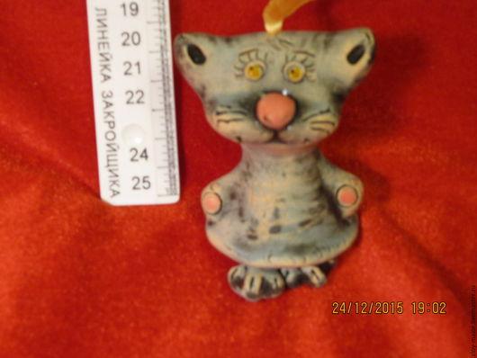 Статуэтки ручной работы. Ярмарка Мастеров - ручная работа. Купить Колокольчик- кот малыш. Handmade. Котик, васильковый, колокольчик