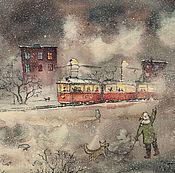 Картины ручной работы. Ярмарка Мастеров - ручная работа Дети и трамвай. Акварель, жикле, картина.. Handmade.
