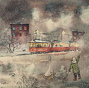 Картины и панно handmade. Livemaster - original item Children and tram. The painting on watercolor paper, printing. Handmade.