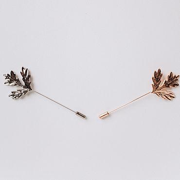 Свадебный салон ручной работы. Ярмарка Мастеров - ручная работа Золотая или серебреная брошь-бутоньерка с листьями. Handmade.